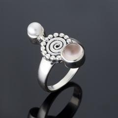Кольцо жемчуг, розовый кварц (серебро 925 пр.) размер 18