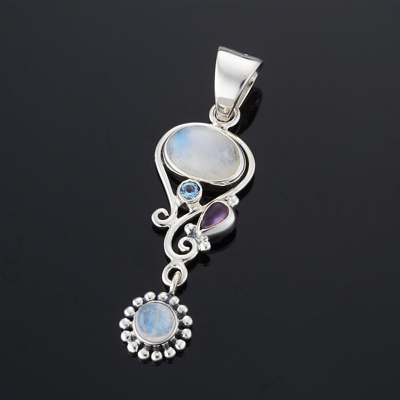 Кулон аметист, лунный камень, топаз (серебро 925 пр.) кулон лунный камень прямоугольник серебро 925 пр
