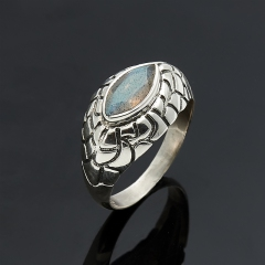 Кольцо лабрадор Мадагаскар огранка (серебро 925 пр.) размер 18,5