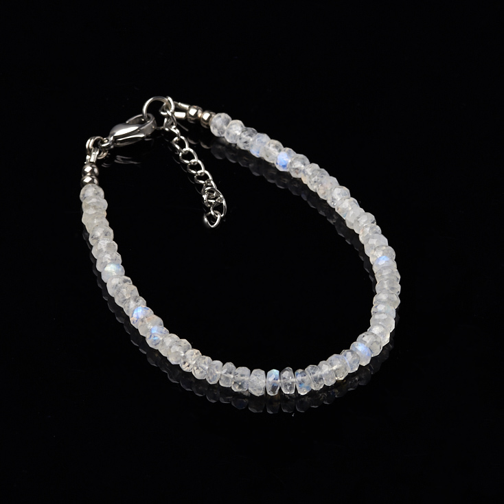 Браслет лунный камень огранка 17-20 см (хир. сталь)