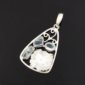Кулон аквамарин, кварц, топаз Бразилия (серебро 925 пр.)