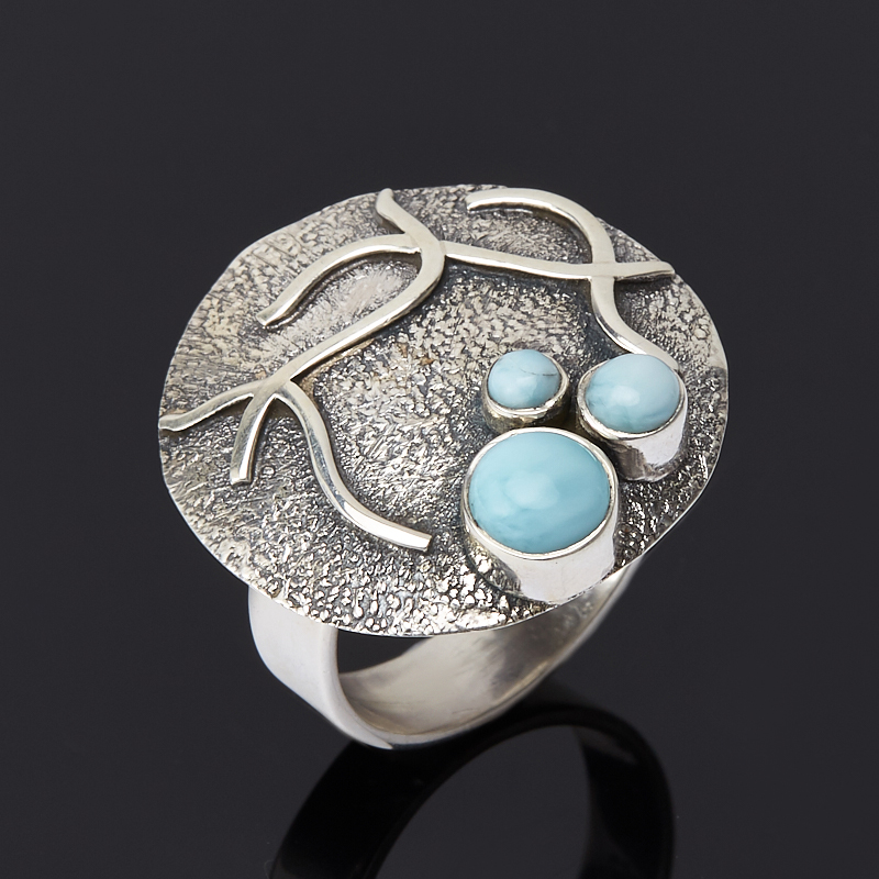 Кольцо ларимар нская Республика (серебро 925 пр.) размер 17,5