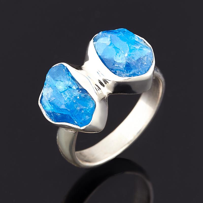 Кольцо апатит синий Бразилия (серебро 925 пр.) (регулируемый) размер 17,5