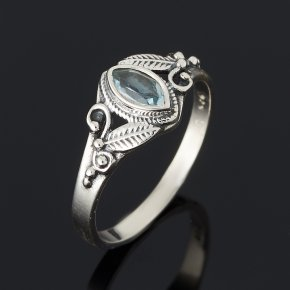 Кольцо топаз голубой Бразилия огранка (серебро 925 пр.) размер 18