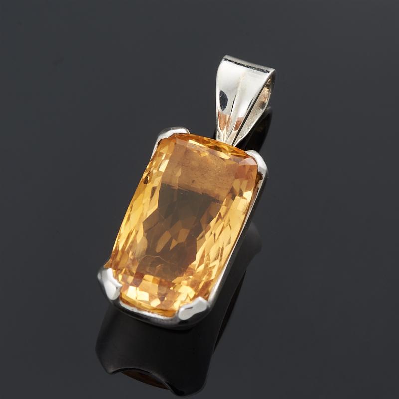 Кулон цитрин прямоугольник огранка (серебро 925 пр.) цена