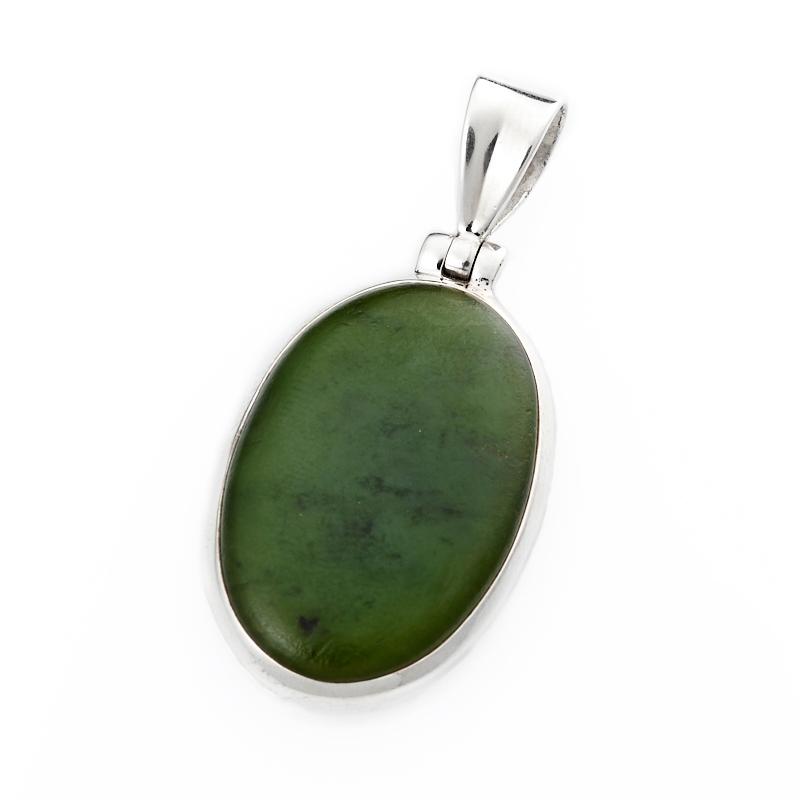 Кулон нефрит зеленый овал (серебро 925 пр.) цена