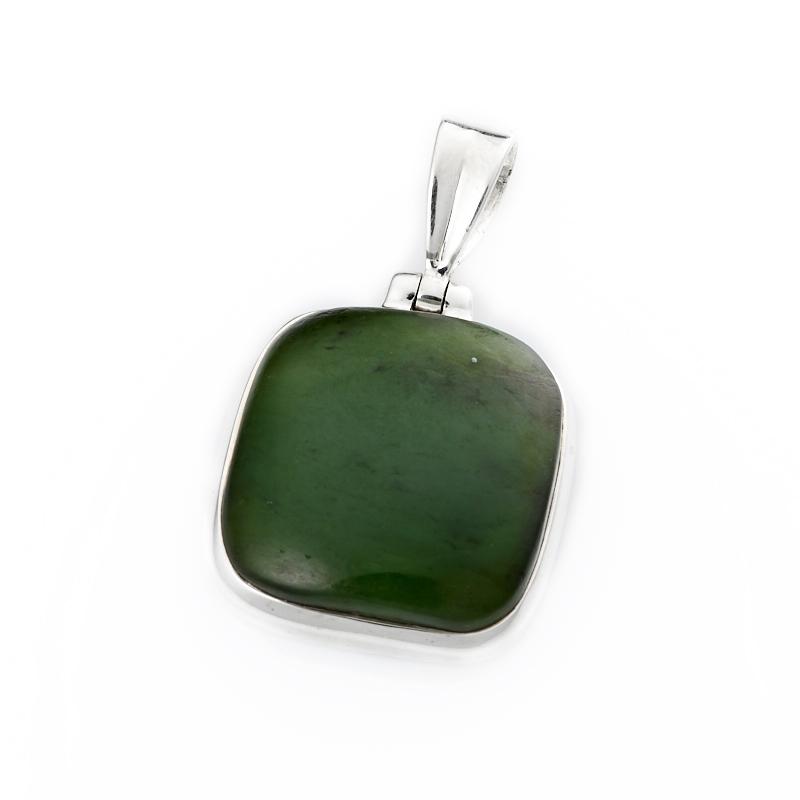 Кулон нефрит зеленый квадрат (серебро 925 пр.) цена и фото