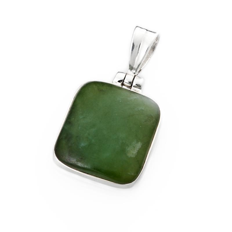 Кулон нефрит зеленый прямоугольник (серебро 925 пр.) цена