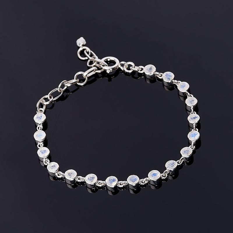 Браслет лунный камень огранка 15-20 см (серебро 925 пр.) браслет лунный камень 15 см