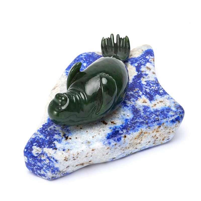 Тюлень нефрит зеленый, лазурит 5,5х13 см цена