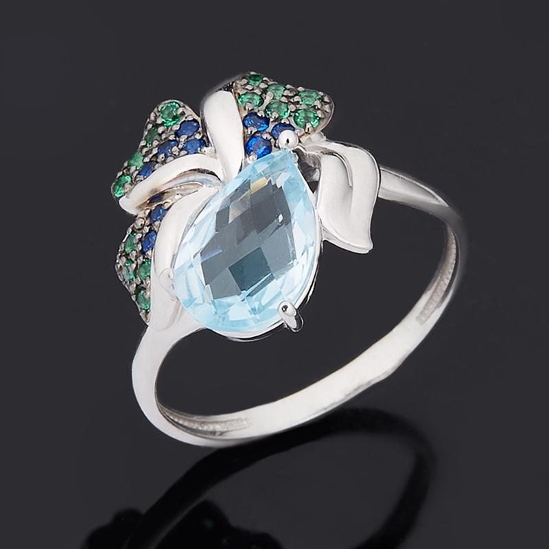 Кольцо топаз голубой огранка (серебро 925 пр.) размер 17 кольцо коюз топаз кольцо т748013584