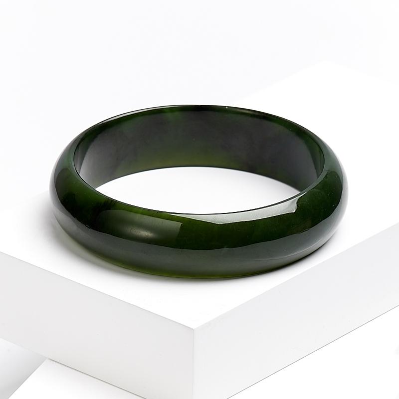 Браслет нефрит зеленый цельный 21 см