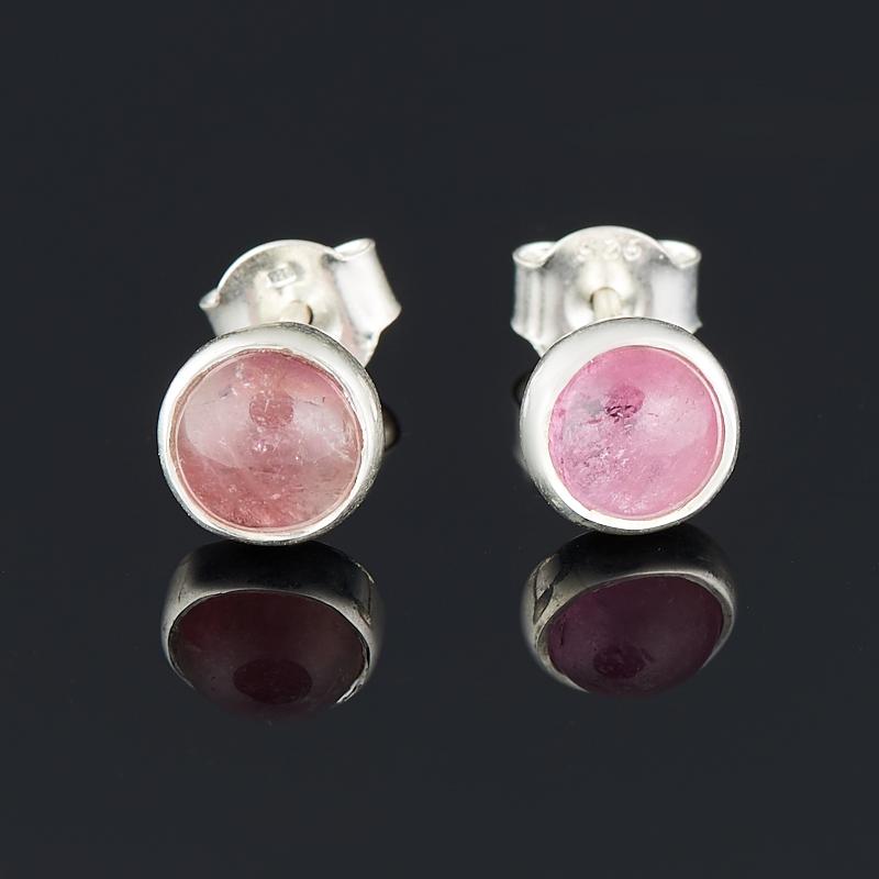 Серьги турмалин розовый (рубеллит) пуссеты (серебро 925 пр.)