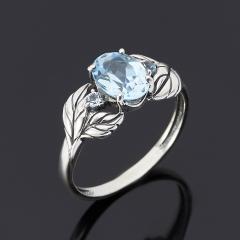 Кольцо топаз голубой Бразилия огранка (серебро 925 пр. оксидир.) размер 17,5