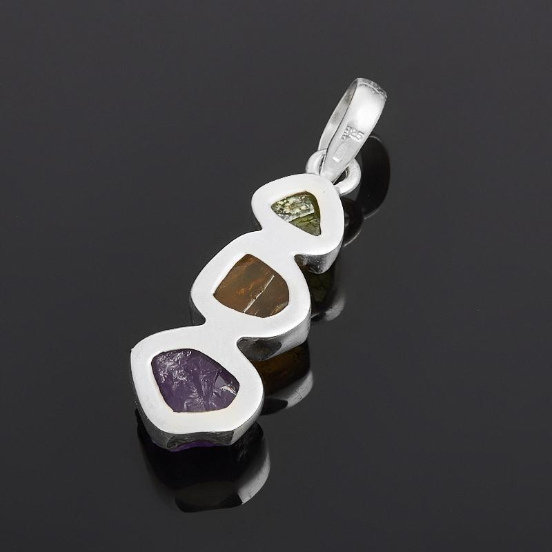 Кулон аметист, хризолит, цитрин (серебро 925 пр.)