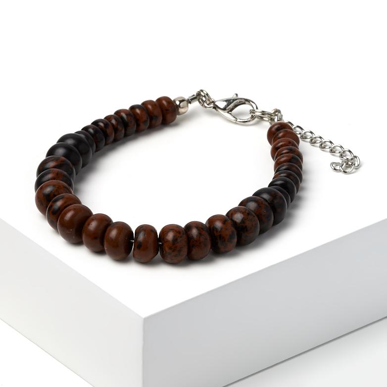 Браслет обсидиан коричневый 16-19 см (биж. сплав) браслет жемчуг белый 6 7 мм 16 см биж сплав