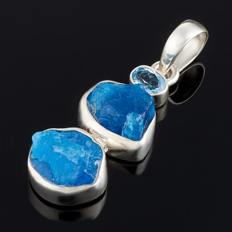 Кулон апатит синий, топаз голубой Бразилия (серебро 925 пр.)