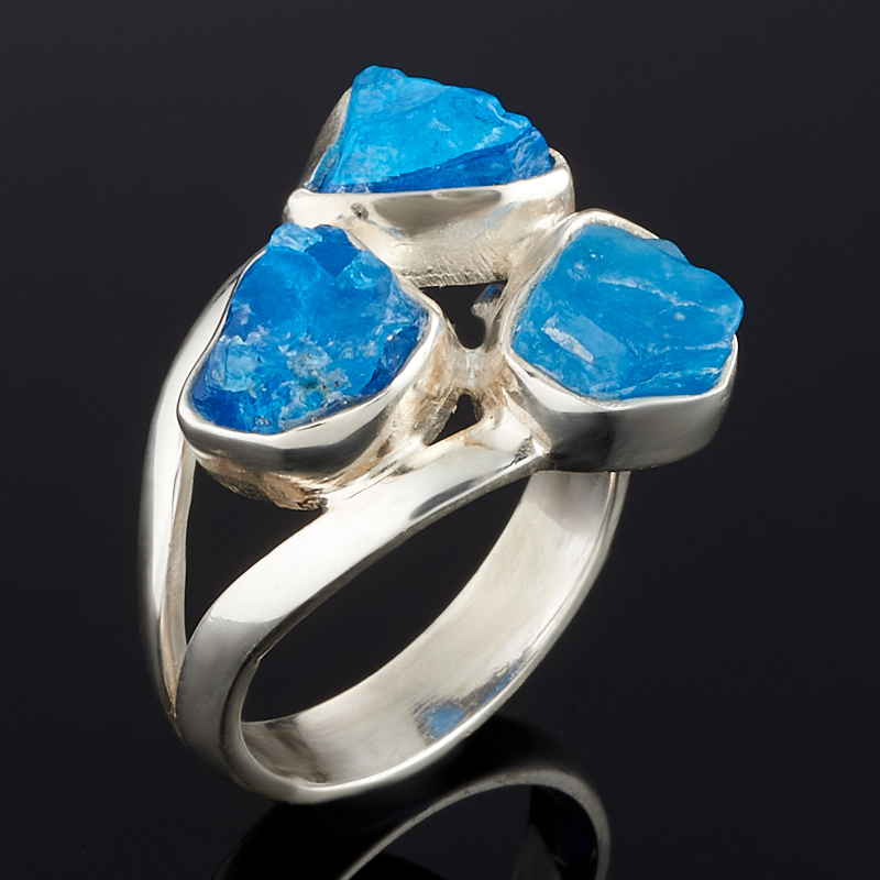 Кольцо апатит синий Бразилия (серебро 925 пр.) (регулируемый) размер 18,5
