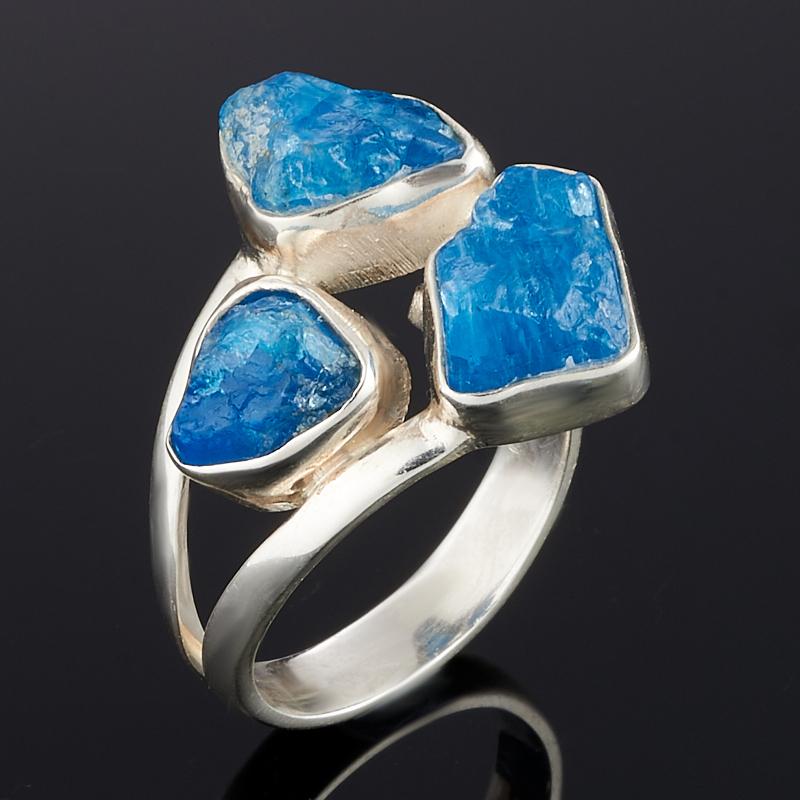 Кольцо апатит синий Бразилия (серебро 925 пр.) (регулируемый) размер 19