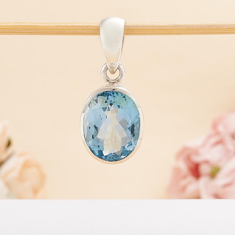 Кулон топаз голубой огранка (серебро 925 пр.) топаз