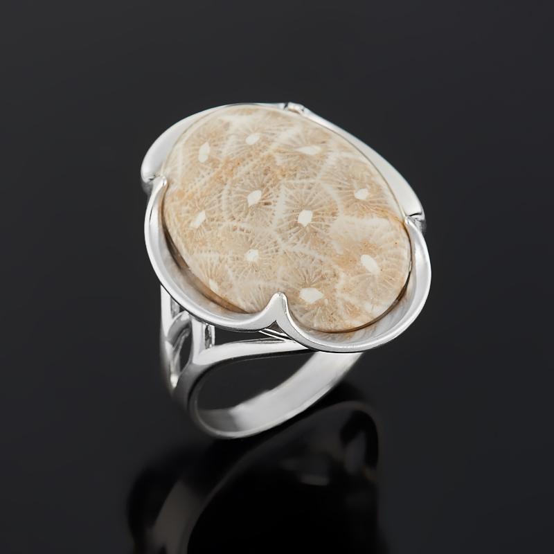 Кольцо коралл (серебро 925 пр.) размер 17