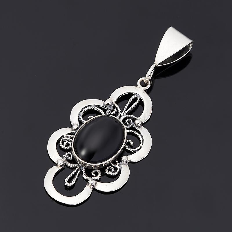 Кулон агат черный (серебро 925 пр.) подвески бижутерные колечки кулон джессика коралл агат хрусталь