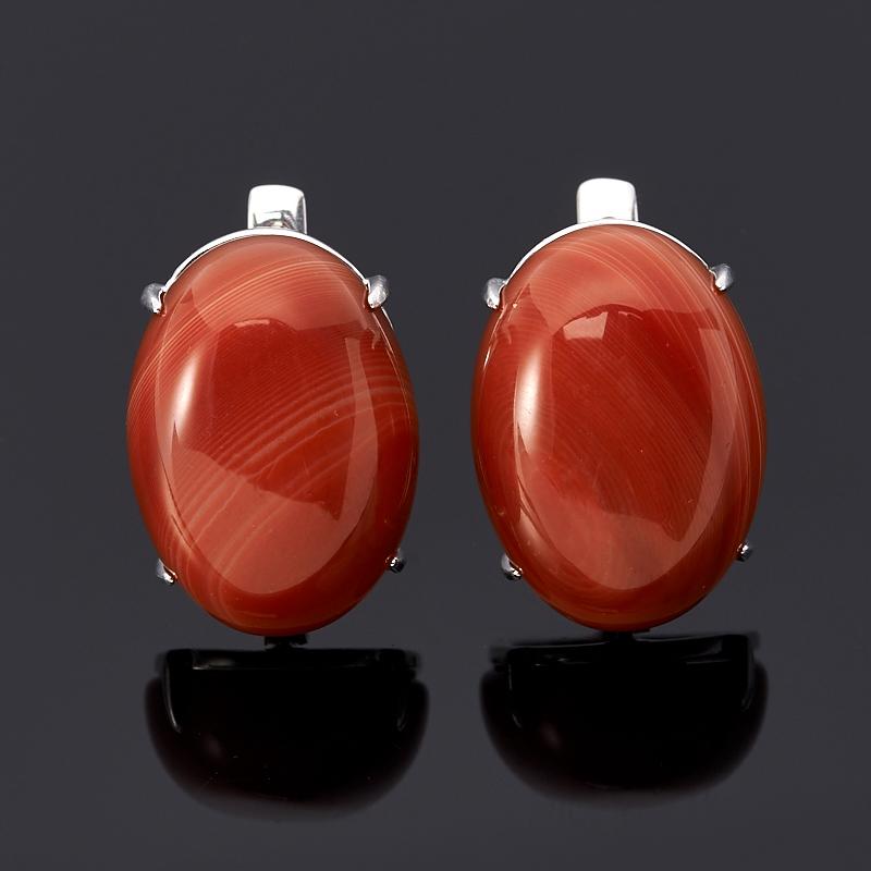 Серьги агат красный (серебро 925 пр.) серьги естественный отбор цвет красный ч 0110