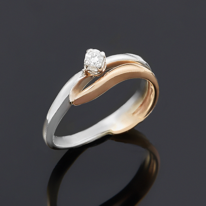 Кольцо бриллиант Индия огранка (золото 585 пр.) размер 16