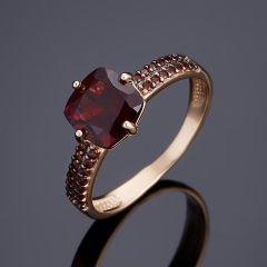 Кольцо гранат альмандин Индия огранка (золото 585 пр.) размер 18,5
