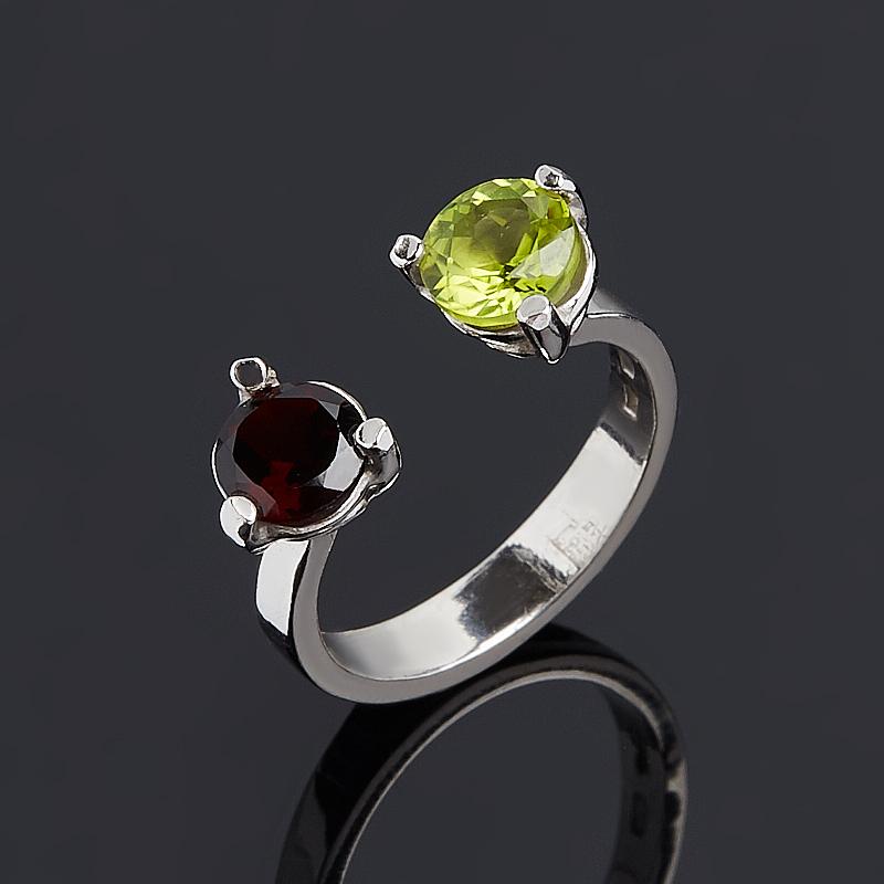 Кольцо микс гранат хризолит огранка (серебро 925 пр.) размер 16 кольцо микс топаз хризолит огранка серебро 925 пр размер 19