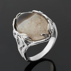 Кольцо агат коричневый Ботсвана (серебро 925 пр. родир. бел.) размер 18,5