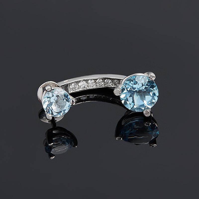 Серьги топаз голубой пуссеты огранка (серебро 925 пр.) (1шт)