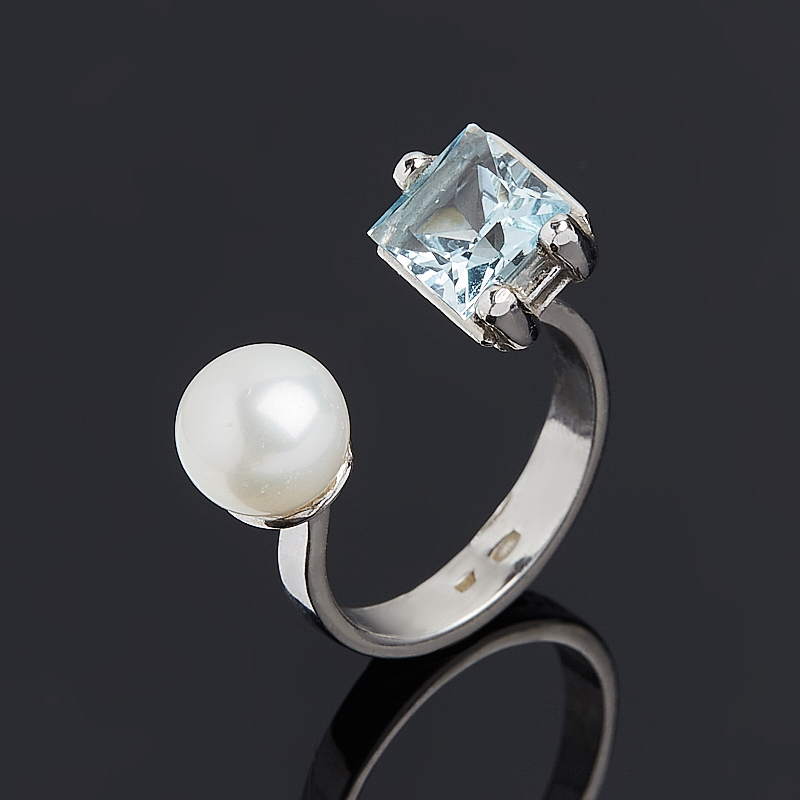 Кольцо микс жемчуг, топаз (серебро 925 пр.) размер 16,5 коюз топаз кольцо т900011471