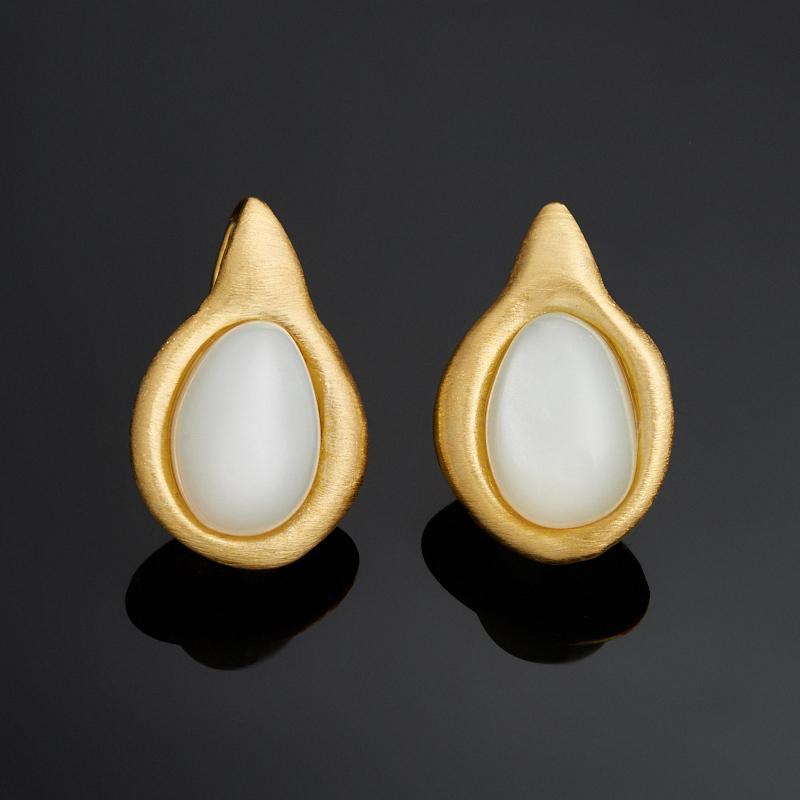 Серьги лунный камень (серебро 925 пр., позолота)