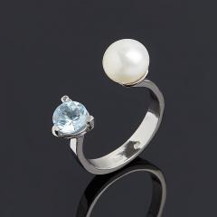 Кольцо микс жемчуг, топаз (серебро 925 пр.) размер 17