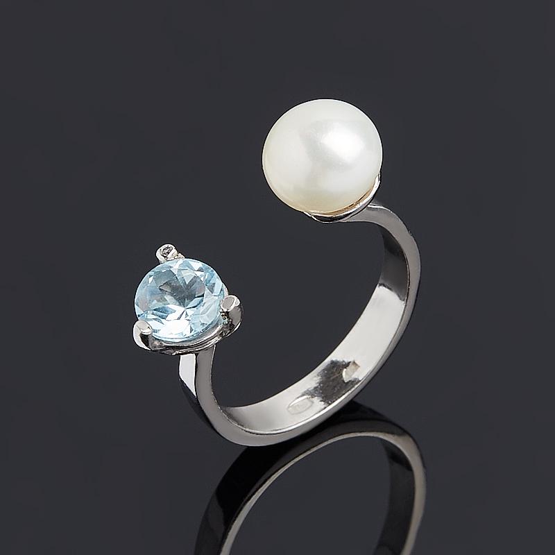 Кольцо микс жемчуг топаз (серебро 925 пр.) размер 17