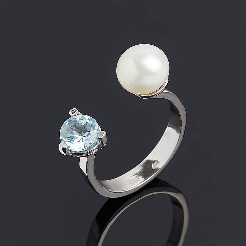 Кольцо микс жемчуг, топаз (серебро 925 пр.) размер 22