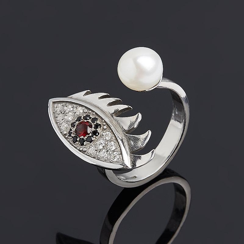 Кольцо микс гранат, жемчуг (серебро 925 пр. родир. бел.) размер 15