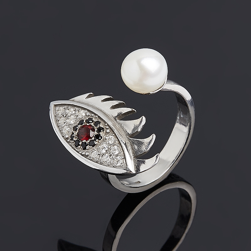 Кольцо микс гранат, жемчуг (серебро 925 пр. родир. бел.) размер 17