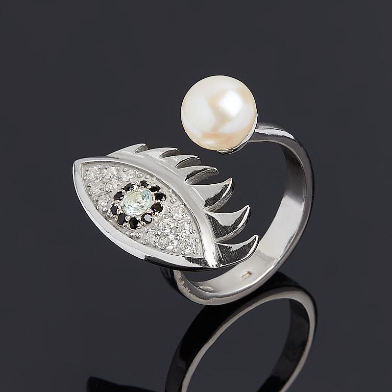 Кольцо микс жемчуг, топаз (серебро 925 пр.) размер 19,5