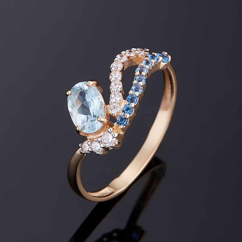 Кольцо топаз голубой огранка (золото 585 пр.) размер 17,5 кольцо коюз топаз кольцо т747017362 01