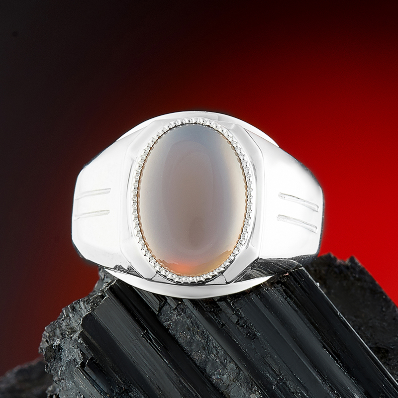 Кольцо агат серый (серебро 925 пр.) размер 19,5