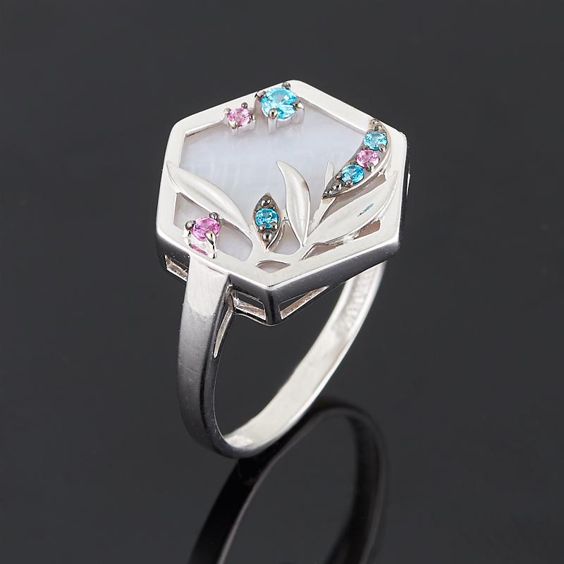 Кольцо перламутр розовый (серебро 925 пр. родир. бел. родир. черн.) размер 17