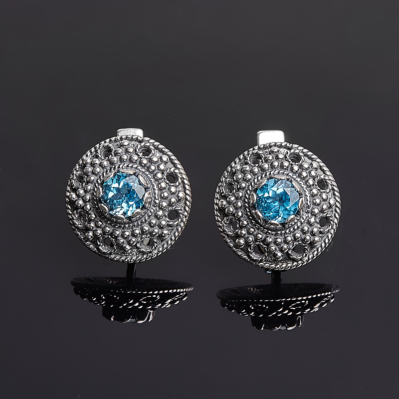 Серьги топаз голубой огранка (серебро 925 пр.) цена