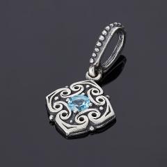 Кулон топаз голубой Бразилия огранка (серебро 925 пр. оксидир.)