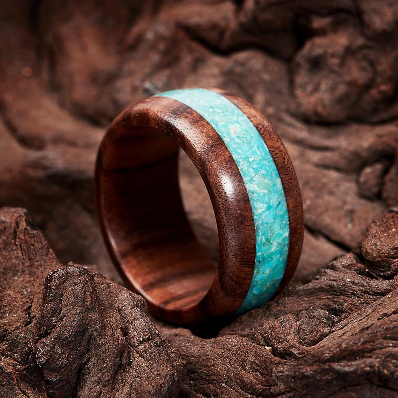 Кольцо бирюза Мексика (дерево) размер 17,5