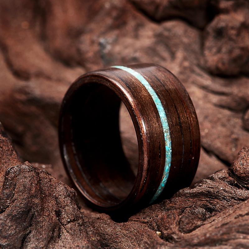 Кольцо бирюза Мексика (дерево) размер 16,5