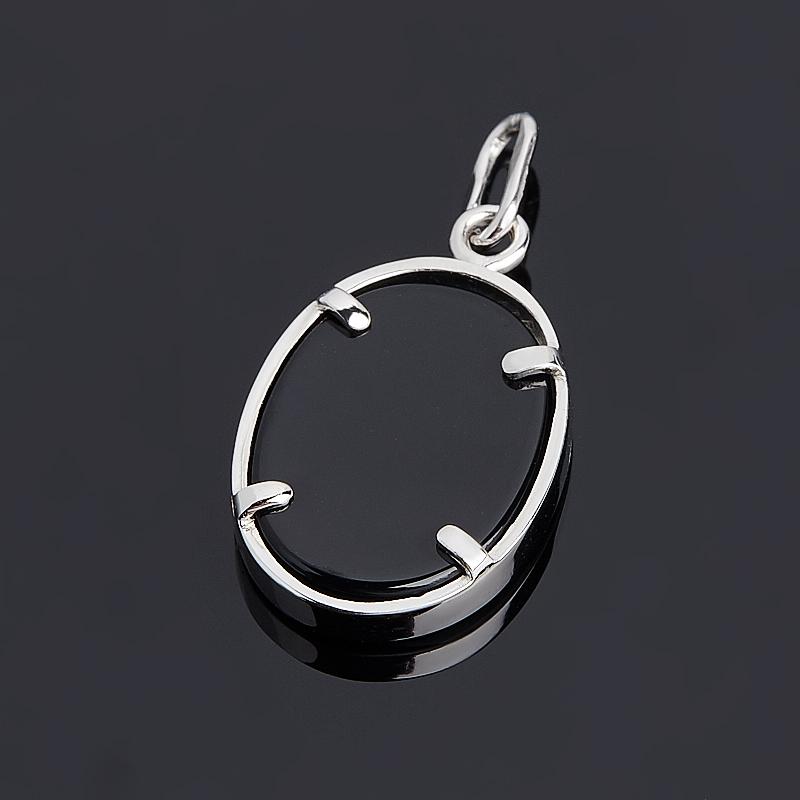 Кулон агат черный Бразилия Камея (серебро 925 пр.)