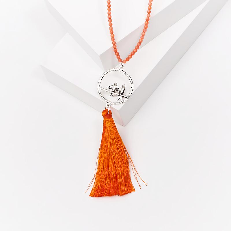 Бусы коралл оранжевый (сотуар) длинные 3 мм 84 см (биж. сплав) бусы xxl пластик 20ммх270см оранжевый