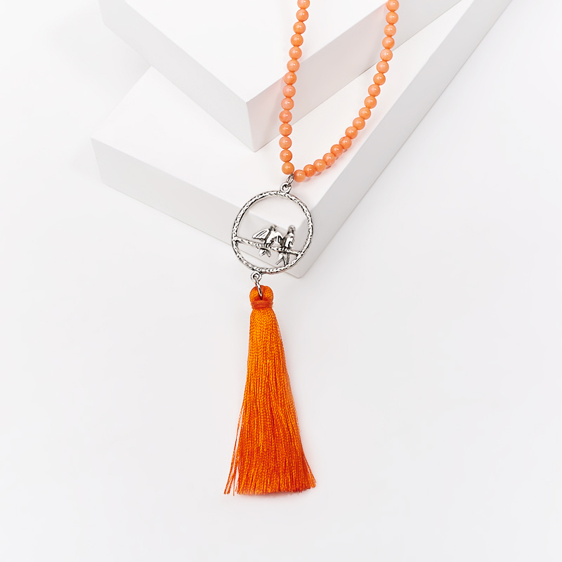 Бусы коралл оранжевый (сотуар) длинные 4 мм 92 см (биж. сплав) бусы xxl пластик 20ммх270см оранжевый